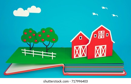 Pop up book with barns and fruit trees. 3D rendering
