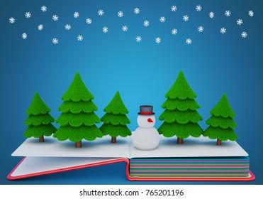 Pop up book with a felt snowman and fir trees. 3D rendering