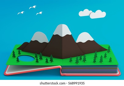Pop Up Book With Mountainous Landscape. 3D Rendering