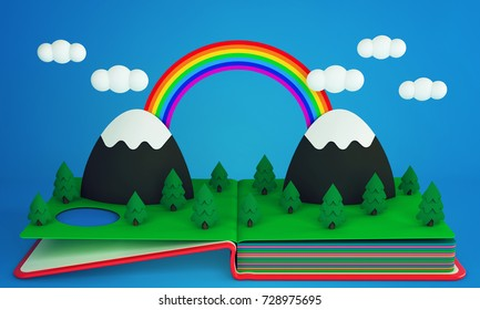 Pop up book with a rainbow over mountain peaks and coniferous forest. 3D rendering