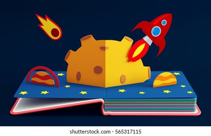 Pop Up Book With Rocket In Space. 3D Rendering