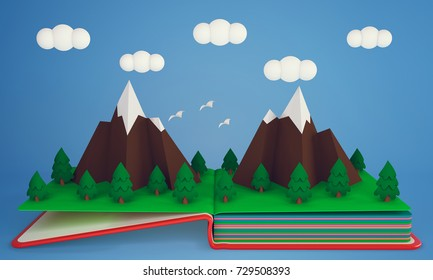 Pop up book with snow-capped mountains and pine forest. 3D rendering