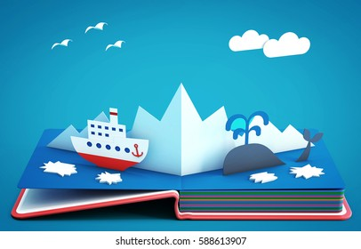 Pop up book with steamboat among icebergs and ice floes. 3D rendering