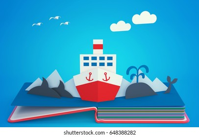 Pop up book with steamboat among icebergs. 3D rendering