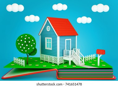 Pop up book with a suburban home and blooming tree. Spring time. 3D rendering
