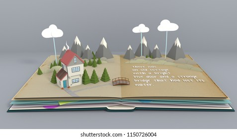 Pop up book telling story