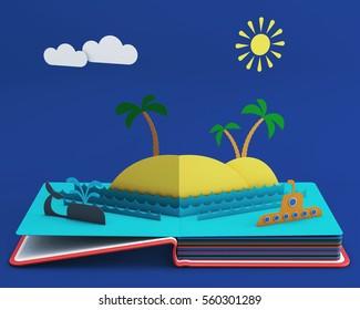Pop Up Book With Tropical Island In Ocean. 3D rendering