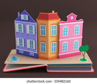 Pop up book with vintage street. 3D rendering