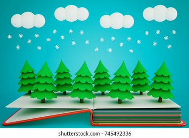Pop up book with winter coniferous forest made of paper. 3D rendering