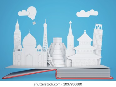 Pop up book with world landmarks. 3D rendering