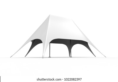 Pop Up Dome Spider star Advertising White Blank Event Tent. 3d render illustration.