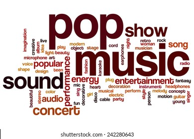 Pop music word cloud concept with concert  entertainment related tags
