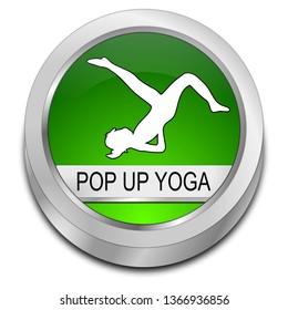 Pop Up Yoga button - 3D illustration