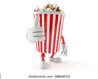 Popcorn character with thumbs up isolated on white background. 3d illustration