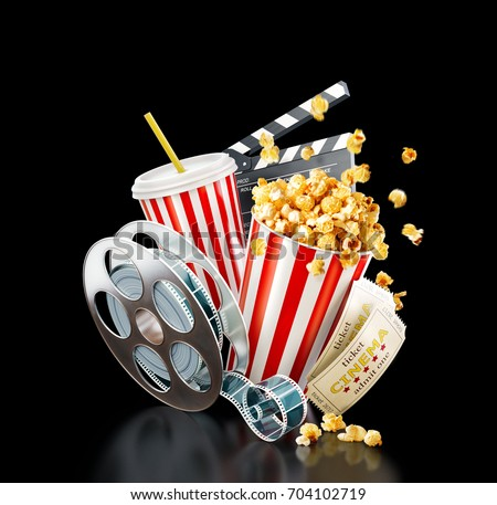 Royalty Free Stock Illustration Of Popcorn Cinema Reel Disposable