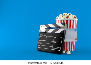 Popcorn and clapboard with note isolated on blue background. 3d illustration