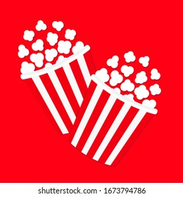 Popcorn icon set. Cinema movie night icon. Two big size strip box package. Pop corn food popping. Flat design style. Red background. Isolated