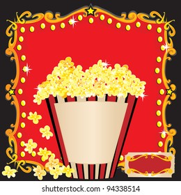 Popcorn and a Movie Birthday Party Invitation. A bright red marquee billboard and a huge striped tub of popcorn welcomes you to a birthday party.
