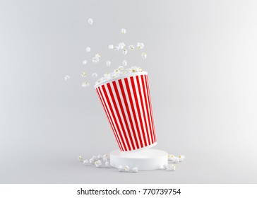Popcorn in red and white cardboard box is shaking, front view with clipping path. 3d rendering