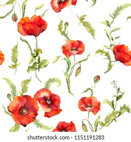 Poppies flowers, summer field. Seamless floral pattern. Watercolor