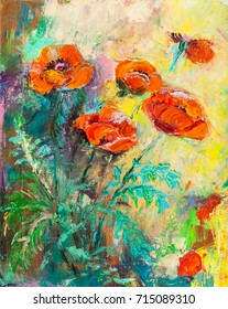 Poppies on a bed, oil painting