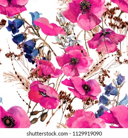 poppies pink and wild grass watercolor on white background seamless pattern for fabrics, paper