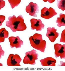 poppies. Red flowers. Seamless watercolor pattern. It can be used for print.