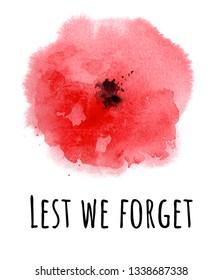 Poppy flower. Remembrance day symbol. Lest we forget phrase