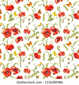 Poppy flowers, butterflies, bees in summer field. Seamless white floral pattern. Watercolor