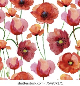 Poppy flowers. Seamless background pattern of poppy flowers.  Watercolor painting.