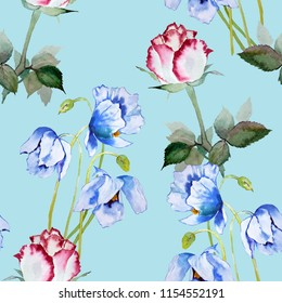 Poppy and Roses watercolor illustration pattern