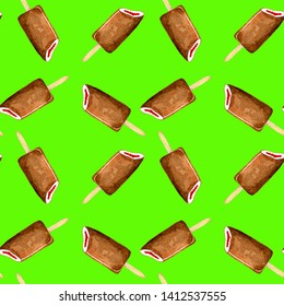 Popsicle Eskimo pie in chocolate on a stick on neon green background. Seamless pattern ice cream watercolor summer. Hand drawn watercolor.