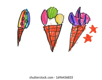Popsicle ice cream, children's drawing with felt-tip pen on a white background.