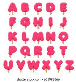 Popsicle ice cream lolly alphabet. 3D rendering