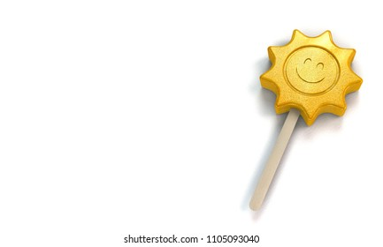 popsicle ice lolly in shape of a loughing sun as a symbol for the summer on white background with copy space - 3d rendering