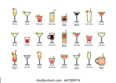 Popular alcoholic cocktails with titles part 2, icons set in flat style on white background. Raster version