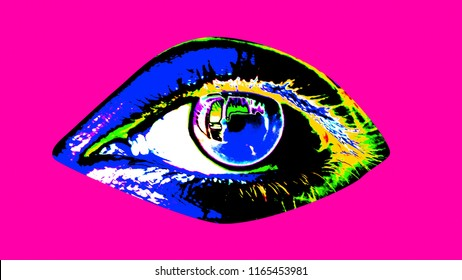 A popular art 3d illustration of a human female eye with black pupil, colorful iris and sparkling blue retina in the rozy background. It looks arty, optimistic and festive.