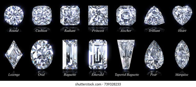 Popular diamond shapes with names on black, round, cushion, radiant, princess, asscher, trilliant, heart, lozenge, oval, baguette, emerald, tapered baguette, pear, marquise. 3D rendering illustration