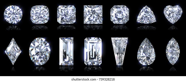 Popular diamond shapes - round, cushion, radiant, princess, asscher, trilliant, heart, lozenge, oval, baguette, emerald, tapered baguette, pear, marquise, isolated on black. 3D rendering illustration
