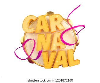 Popular Event in Brazil. Carnival Title With Colorful Party Elements. Travel destination. Isolated 3d illustration