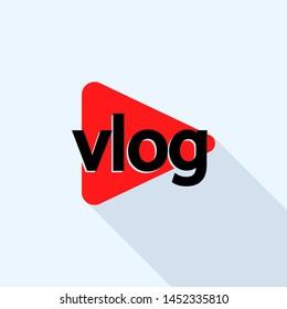Popular vlog logo. Flat illustration of popular vlog logo for web design