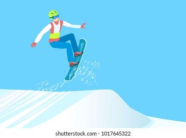 Popular winter sport. Snowboarder make high jump from springboard. Professional Snowboarding. Raster version.