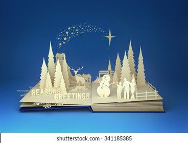 pop-up book with a christmas theme. 3D Illustration.