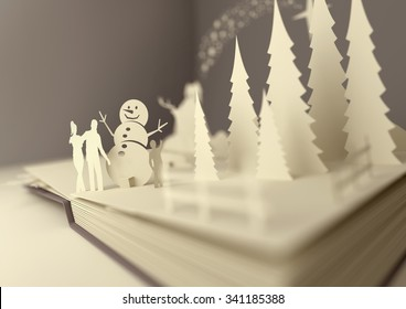 Pop-up book with a christmas theme 3D Illustration.