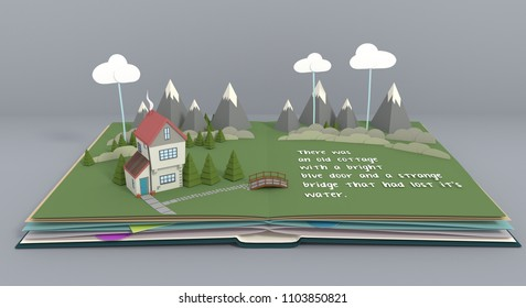 Popup Book page open showing a house, mountains, trees and clouds.