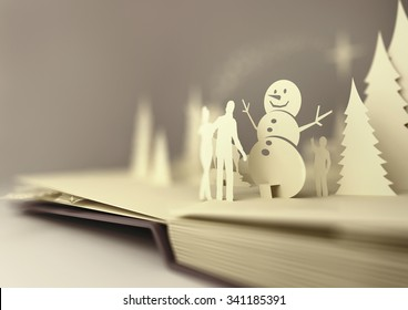 pop-up book with winter elements, 3D Illustration