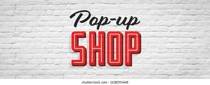 Pop-up shop on brick wall