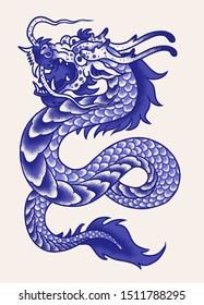 Porcelain blue asian dragon illustration