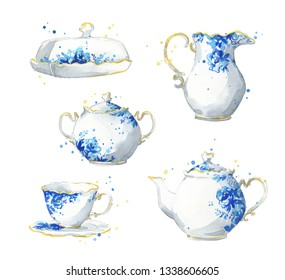 Porcelain tea set, watercolor illustration