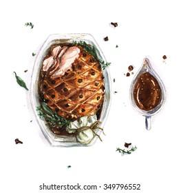 Pork Roast - Watercolor Food Collection